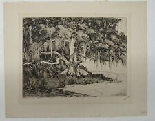 "Walter Locke 1940s Florida Coast Etching ""Live Oak, Fla."" Listed Artist"