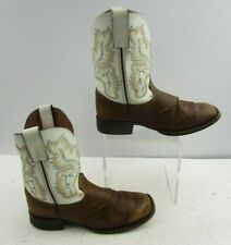 Boys Justin White / Brown Leather Western Cowboy Boots Size : 2 D