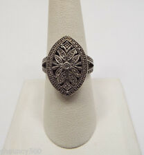 Sterling Silver CZ Pave Oval with Floral Design, Double Banded Ring sz 8