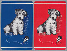 2 Single VINTAGE Swap/Playing Cards DOGS TERRIER & SPINNING TOP Blue/Red