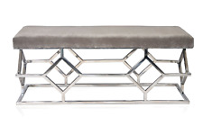 Designer Stainless Steel Bench Hair On Leather Seat For Home Decoration