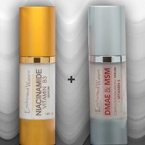 Niacinamide B3 5% 1oz Plus DMAE MSM 1oz Vitamin E Anti Aging Wrinkle Serum Cream