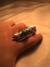 Handmade Tribal Tibet Genuine Turquoise Brass Knuckle Ring