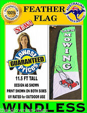 feather flag lawn mowing banner for POS shop business CLEARANCE PRICE
