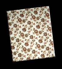 Home Brand, 100% Cotton, Flannel, Ivory with Floral Print, Full Flat Sheet