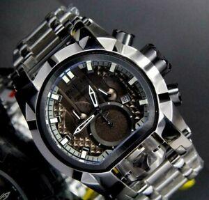 Invicta Reserve Bolt Zeus Magnum Swiss Black Dual Dials Stainless 52mm Watch