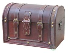 New Vintiquewise Antique Style Wood and Leather Trunk with Round Top,  QI003010