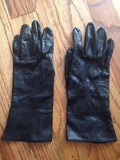Women's Vintage Black Leather Glove
