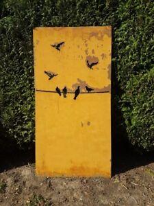 Sichtschutz Sichtschutzwand Schmuckblech Gabione Vögel 183cm Edelrost