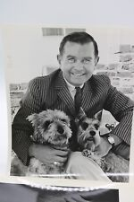 1950'S Black & White Vintage Photo White Handsome Man With Yorkshire Terrier