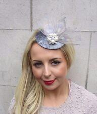 Grey Silver Velvet Feather Pillbox Hat Fascinator Hair Clip Races Vintage 3277