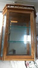 Beautiful Large Oak Wood and Glass Curio Cabinet Display Case