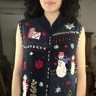VTG | Embellished Patchwork Tacky Ugly Christmas Sweater Vest | Woman's Size L