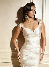 TERANI COUTURE C436 Champagne Sleeveless Ruched Dress 6 $440 NEW