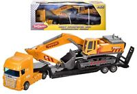 Kids Construction Lorry Transporter With Digger Excavator Vehicle Toy Boys Gift