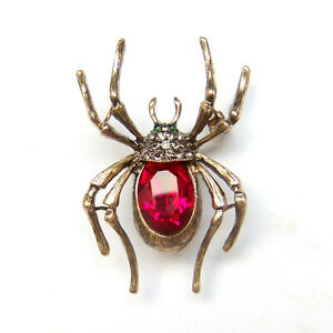 Brooch Spider Bronze Gold Red Crystal Gothic Sparkle Unisex Suit Pin Gift Box