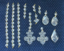 Lot of 59 Crystal Lamp Chandelier Prisms- Fleur-de-Lis, Tear Drop, Octagon Beads