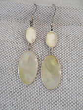 Retro pale gold/ivory mother of pearl pendant style drop earrings - pierced ears