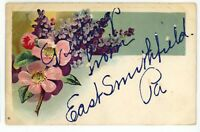 Glitter Greeting EAST SMITHFIELD PA Bradford Co Vintage Pennsylvania Postcard