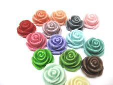 Large Resin Rose Cabochons 23mm - Assorted Colours x 10