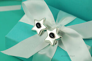 AUTHENTIC Tiffany & Co. Onyx Star Clip on Earrings RARE!!! (#829)