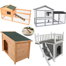 Pet Wood Outdoor Dog House Shelter Extra Large Weather Home Resistant Log Cabin