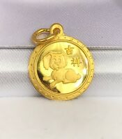24K Solid Yellow Gold Cute Animal Sign Round Dog- Puppy Charm/ Pendant,1.90Grams