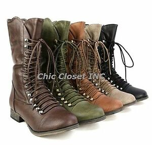 NEW Women Military Combat Lace Up Faux Leather Mid Calf Low Heel Fashion Boots