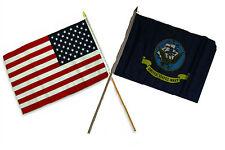 "12x18 12""x18"" Wholesale Combo USA American & Navy Ship Crest Stick Flag"