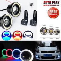 2x 7 Colours Angel Eyes Halo Car Fog Lights Lamp Projector DRL COB LED Bulbs ah0