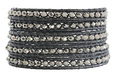 CHAN LUU Coated Metallic Silver CRYSTALS Five 5 Wrap Gunmetal Leather Bracelet
