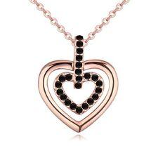 18K ROSE GOLD PLATED & GENUINE BLACK AUSTRIAN CRYSTAL LOVE HEART NECKLACE