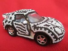 Huichol Tribe Mexican Folk Art Black & White Beaded Car With Coyote Design