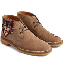 100% AUTHENTIC NEW MEN GUCCI NEW MOREAU EMBROIDERED CHUKKA SUEDE BOOTS UK 6/US 7