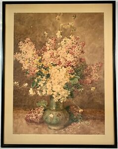 Listed French Artist François Rivoire (1842-1919) Signed Floral Watercolor