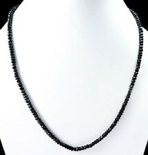 "NATURAL BLACK SPINEL 2x4MM ROUNDEL FACETED 15"" BEADS CHOKER NECKLACE 18''"
