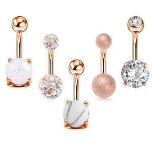 5pcs Opal CZ Belly Button Bar Barbell Drop Dangle Body Piercing Navel Ring Bars