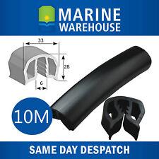 10M 30mm Black Gunwale Rubber - 10 Metres Gunnel Gunwhale Push On PVC 104680B/10