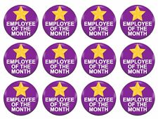 12x Employee Of The Month Award Purple 25mm / 1 Inch D Pin Button Badges