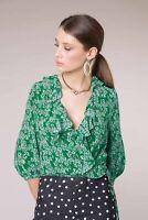 100% auth RIXO sofia ruffle daisy green white wrap top silk mid sleeve floral XS