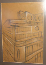 MODERNIST PASTEL/PENCIL PAINTING BUILDING SIGNED