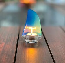 2x Blue Sail Tea Candle Holder Nautical Sailing Decorative Beach Sea Boat Gift