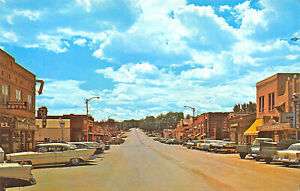 Gillette WY Street View Storefronts Old Cars Trucks Postcard