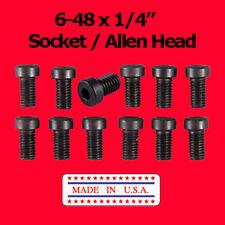 "6-48  x 1/4"" Fillister Allen Hex  Head  Screws Black  (12 Pack)  Scope Mounting"