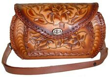 Western Cowgirl Brown Tooled Leather Rose Floral Purse HANDBAG bag