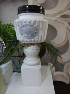 Glass jar candle stick Spring Farmhouse style Handmade Tiered Tray Decor