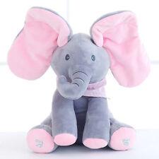 "12""Peek-a-boo Singing Elephant Baby Plush Toy Stuffed Animated Animal Kids Doll"