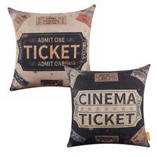 "Retro American Style Cinema Ticket Design Cushion Cover Man Cave Pillow Case 18"""
