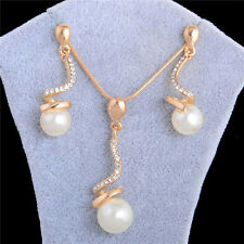18k Gold/Silver Plated Pearl Beads Pendant Necklace Stud Earrings Jewelry Set