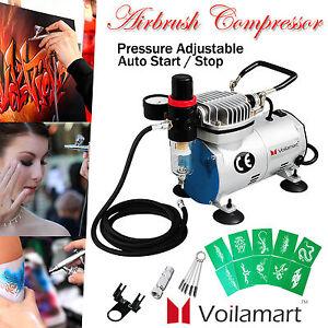 Voilamart Airbrush Compressor Kit Air Brush Hose Filter Stencils Nail Make Up
